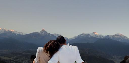 Couple Watching Annapurna Mountains
