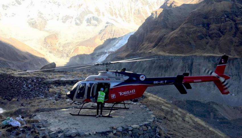 Helicotper at Annapurna Base Camp