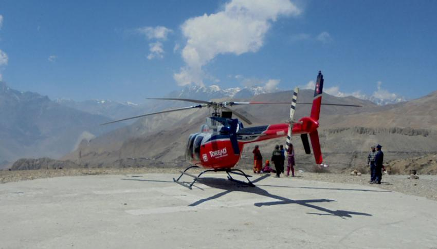 Helicopter at Muktinath Helipad